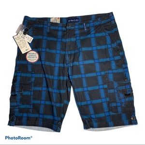 NWT For Him London Blue Plaid Cargo Shorts